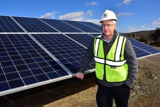 O&G Engineering & Project Manager Matt Tobin pictured at the Southbury Quarry Solar Farm.