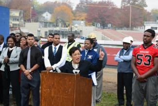Mayor Toni Harp speaks at the Bowen Field press conference